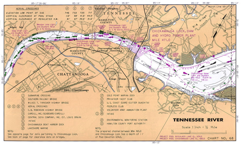 Old Hickory Lake Topographic Map.Localwaters Chickamauga Lake Maps Boat Ramps Tn Localwaters Of