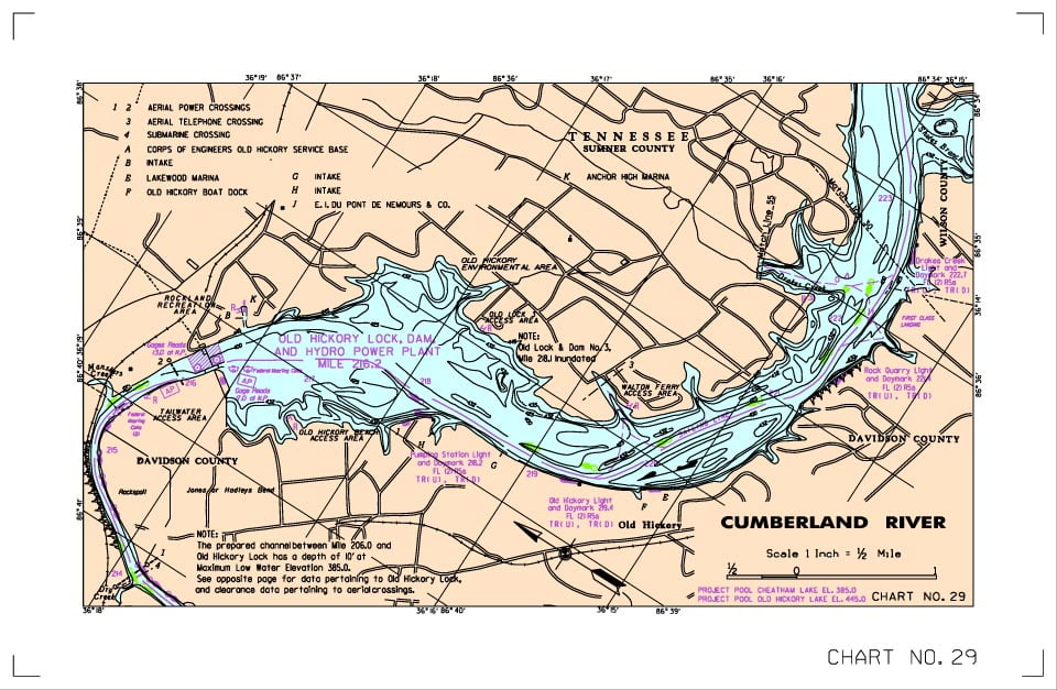 Old Hickory Lake Topographic Map.Localwaters Old Hickory Lake Maps Boat Ramps