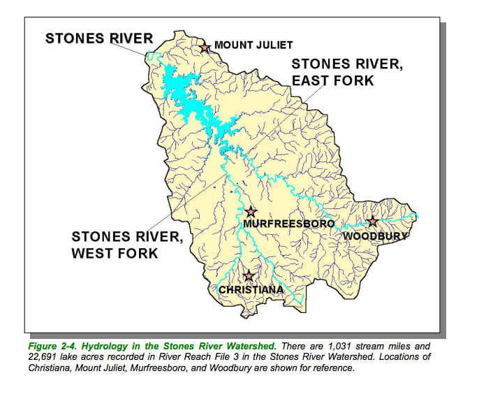 Stones River map hydrology