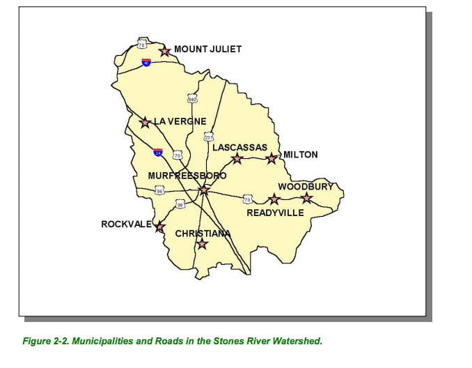 Stones River map towns cities