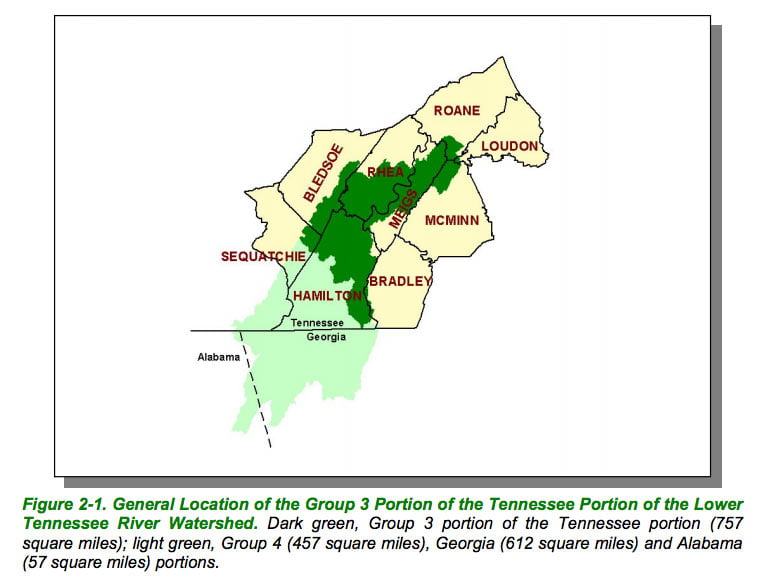 tennessee river map lower counties