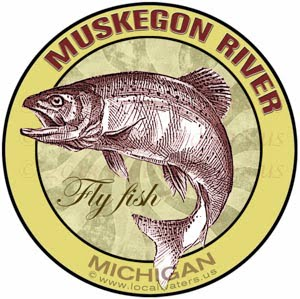 Muskegon River Fly Fish Michigan sticker