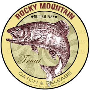 Trout fishing sticker Rocky Mountain National Park