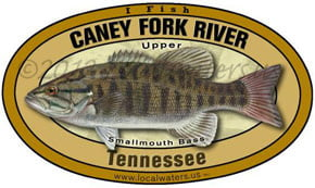 Caney Fork River Tennessee Upper Smallmouth Bass Localwaters 5x3 Decal Sticker