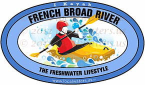 French Broad River Tennessee North Carolina kayak sticker decal 5x3