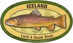 Laxa a Asum River Iceland Flyfish Fishing decal