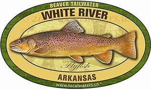 White River Beaver Tailwater Flyfish Fishing decal sticker brown trout