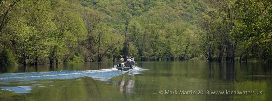 Obey River. Photo of anglers in fishing boat motor upriver towards Dale Hollow Dam