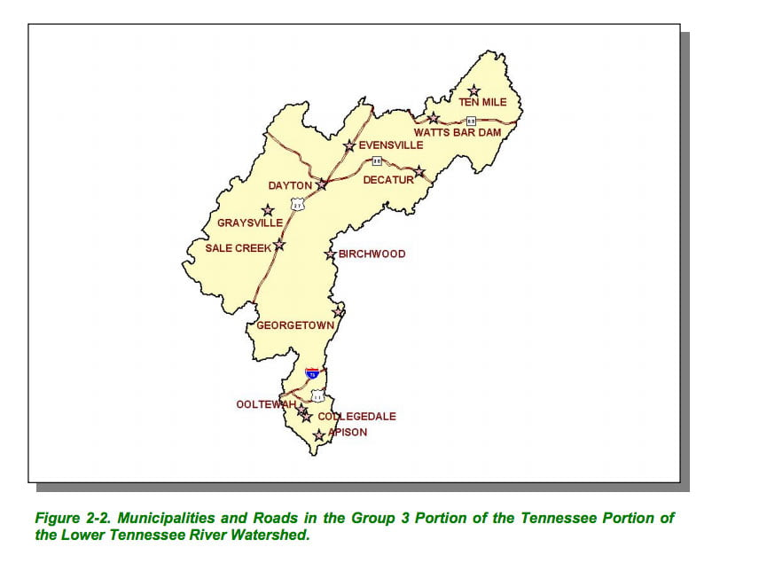 tennessee river map lower towns cities