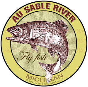 Au Sable River Fly Fish Michigan sticker
