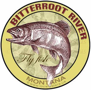 Bitterroot River Fly Fish Montana Sticker Design