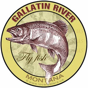 Gallatin River Fly Fish Montana Sticker Design