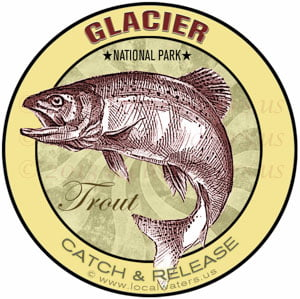 Glacier National Park Trout fishing sticker