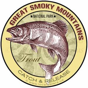 Great Smoky Mountains National Park Trout Sticker Fishing