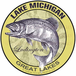 Lake Michigan Ludington Great Lakes Fishing sticker