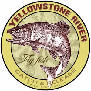 Yellowstone River Fly Fish Catch & Release Montana Sticker Design