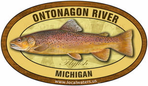 ontonagon river michigan sticker brown trout