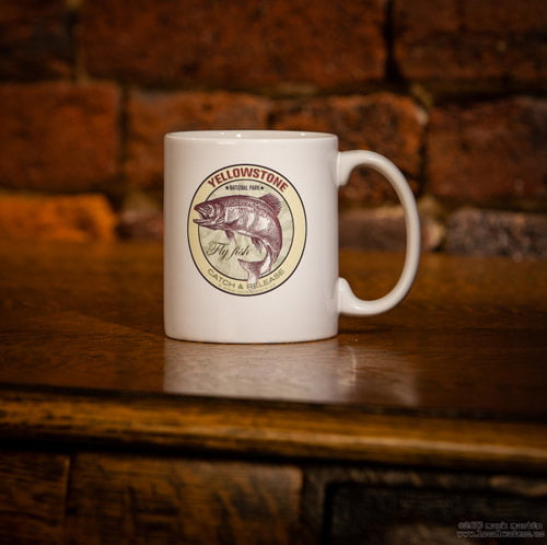 Yellowstone National Park Fly Fish ceramic coffee mug. All designs are available on coffee mugs by request.