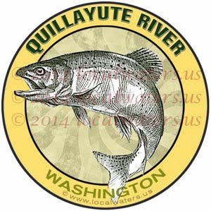 Quillayute River Fishing Salmon Steelhead Trout Olympic Peninsula Washington Sticker Decal Coffee Mug Shirt Coaster