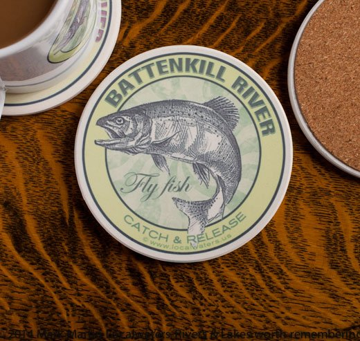 Battenkill River Fly Fishing sandstone coaster