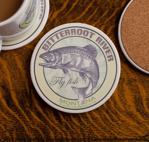 Bitterroot River Fly Fishing sandstone coaster
