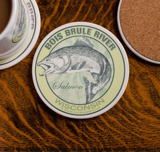 Bois Brule River Salmon Fishing sandstone coaster