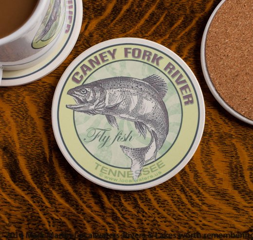 Caney Fork River Fly Fishing sandstone coaster