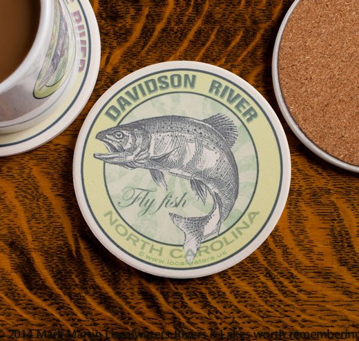 Davidson River Fly Fishing sandstone coaster