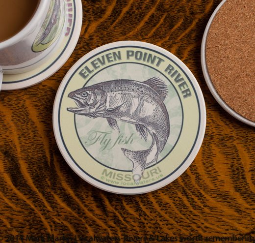 Eleven Point River Fly Fishing sandstone coaster