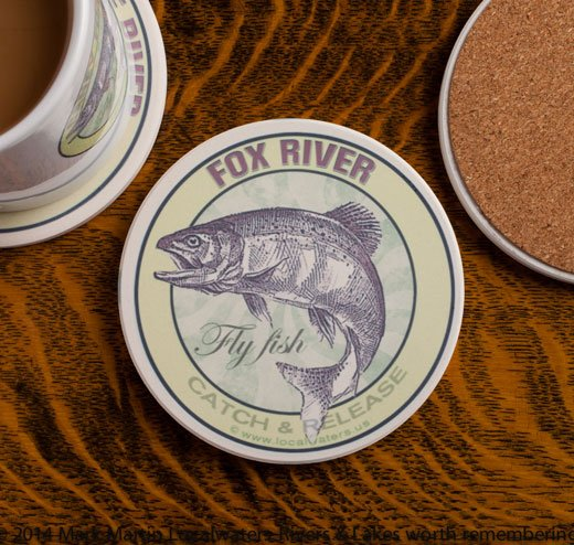 Fox River Fly Fishing sandstone coaster