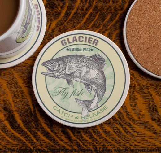 Glacier National Park Fly Fishing sandstone coaster