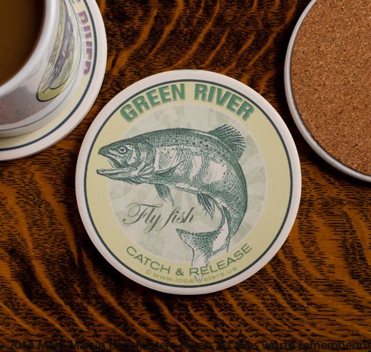 Green River Fly Fishing sandstone coaster