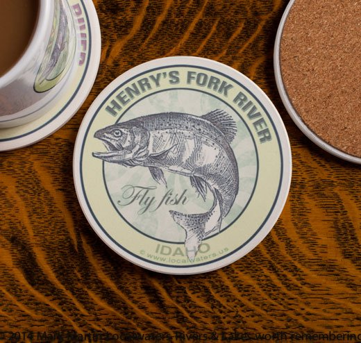 Henrys Fork River Fly Fishing sandstone coaster
