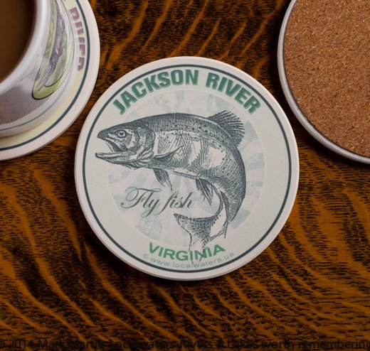 Jackson River Fly Fishing sandstone coaster