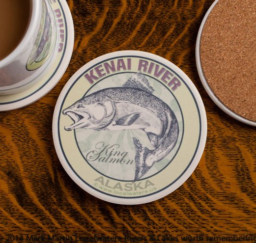 Kenai River King Salmon sandstone coaster