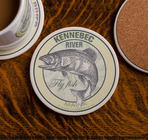 Kennebeck River Fly Fishing sandstone coaster