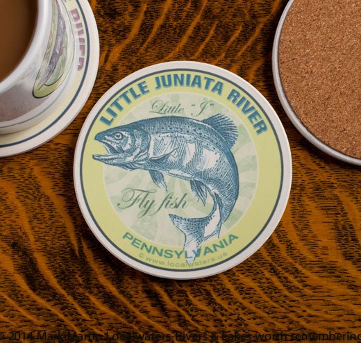 Little Juniata River Fly Fishing sandstone coaster