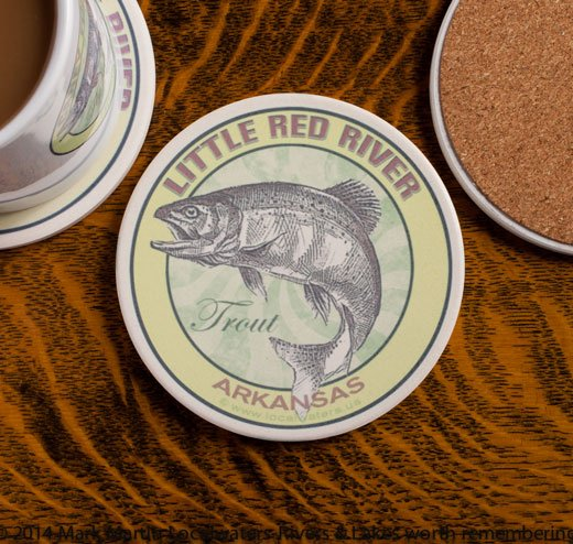 Little Red River Trout Fishing sandstone coaster