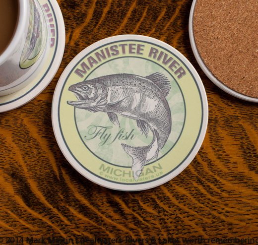 Manisteee River Fly Fishing sandstone coaster