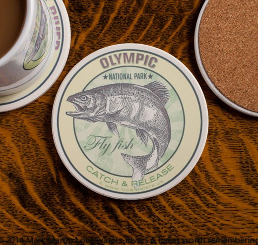 Olympic National Park Fly Fishing sandstone coaster