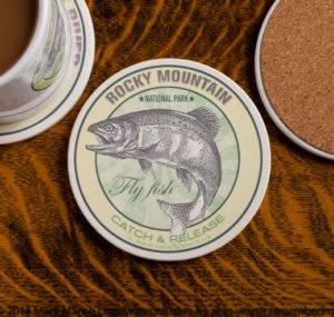 Rocky Mountain National Park Fly Fishing sandstone coaster