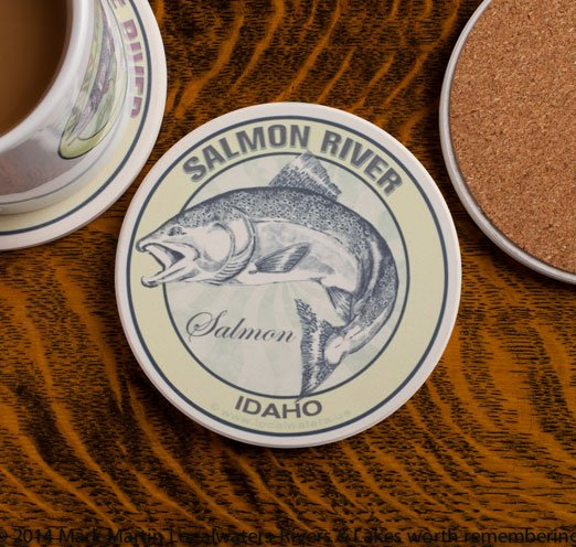 Salmon River Idaho Salmon Fishing sandstone coaster
