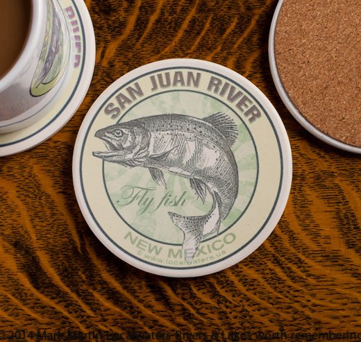 San Juan River Fly Fishing sandstone coaster
