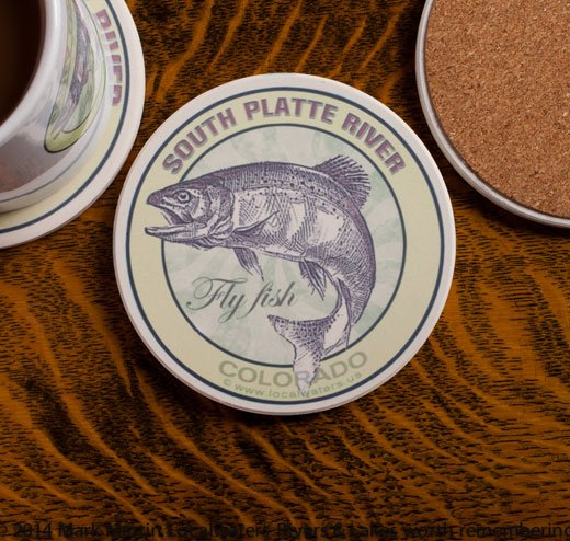South Platte River Fly Fishing sandstone coaster