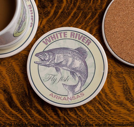 White River Fly Fishing sandstone coaster
