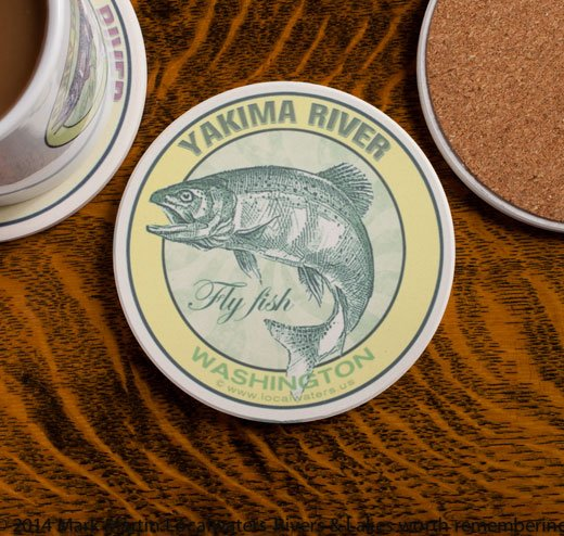 Yakima River Fly Fishing sandstone coaster
