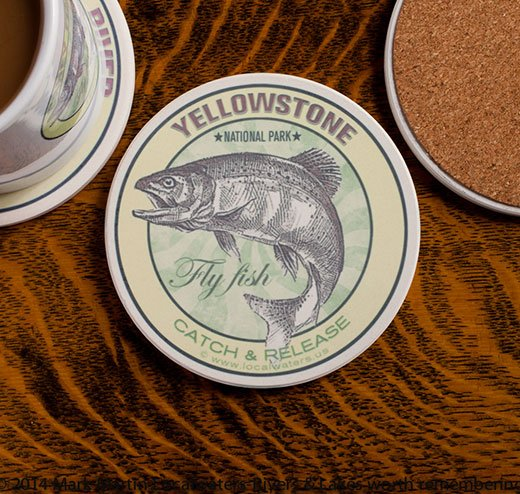 Yellowstone National Park Fly Fishing sandstone coaster