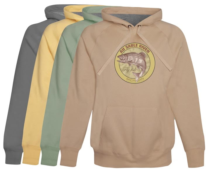 Au Sable River Fly Fishing Hoodie Fleece