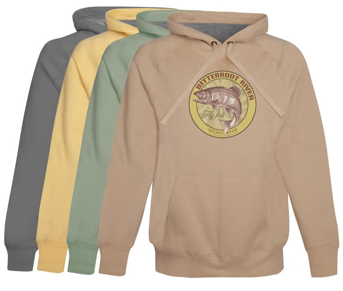 Bitterroot River Fly Fishing Hoodie Fleece Montana Vintage Khaki pull over