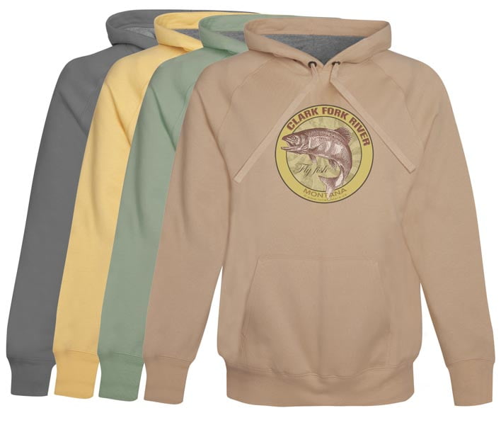 Clark Fork River Fly Fishing hoodie fleece Montana vinage khaki clothing for trout fisherman gifts